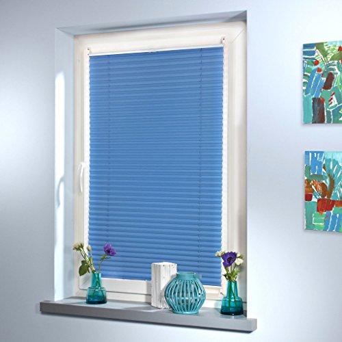 Plissee Faltrollo Rollo Jalousie Faltstore von Mass-Gardinen-Shop Sichtschutz Klemmfix ohne Bohren mit Klemmträger 65cm x 130cm (Blau) - 5