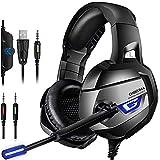 MeterMall - ONIKUMA K5 Stereo-Gaming-Headset für PS4, Xbox One, PC, verbesserter 7.1 Surround-Sound, Geräuschunterdrückung, Mikrofon für Nintend Switch Laptop, Schwarz
