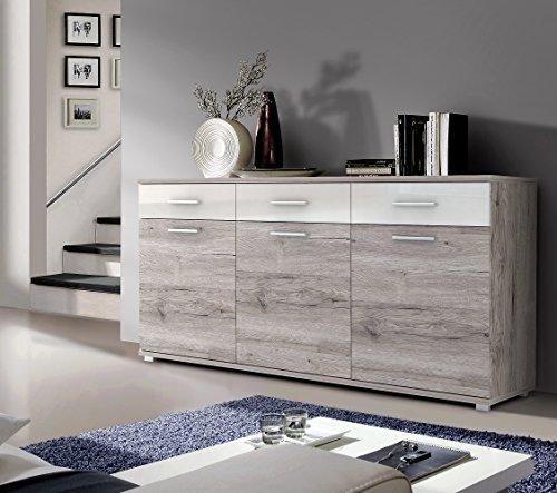 NEWFACE Zeitloses Sideboard mit 2-farbiger Front, Holz, Sandeiche Dekor Kombiniert Mit Weiß...