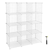 SONGMICS 12 Cubes Wire Grid Storage Rack, Interlocking Shelving Unit with Metal Mesh Shelves + PP Plastic Sheets for Books Shoes Toys Clothes Tools, in Living Room Bathroom LPI34