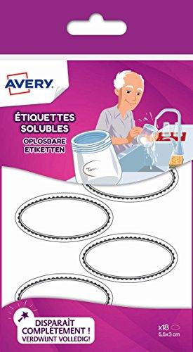 Avery solub18Pack 18Etiketten wasserlöslichen Oval 55x 29mm weiß - Avery-etiketten-oval