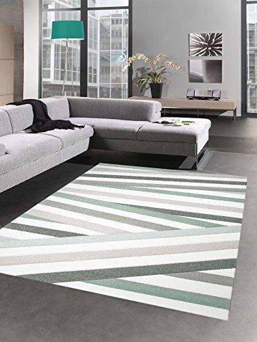 Moderner Teppich Kurzflor Wohnzimmerteppich Konturrenschnitt Streifen pastell grün braun creme...