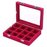 Zice velluto vetro display portagioie anello orecchini supporto vassoio organizzatore Storage Case Rose Red
