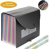 Organizador Expandible Carpetas de Archivos, BluePower 24 bolsillos Rainbow Carpeta Clasificadora con Tapa Oficina Accordion A4 Carpeta de Documentos Maletín Archivador Empresarial