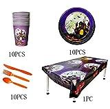Sel-More Set di stoviglie per feste di Halloween, copertura per tavolo, piatti, coltelli, cucchiai, forchette, tazze, Halloween party supplies