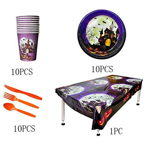 Halloween Party Geschirr Set inkl. Tisch, Teller, Messer, Löffel, Gabeln, Tassen, perfekt Halloween Party Supplies