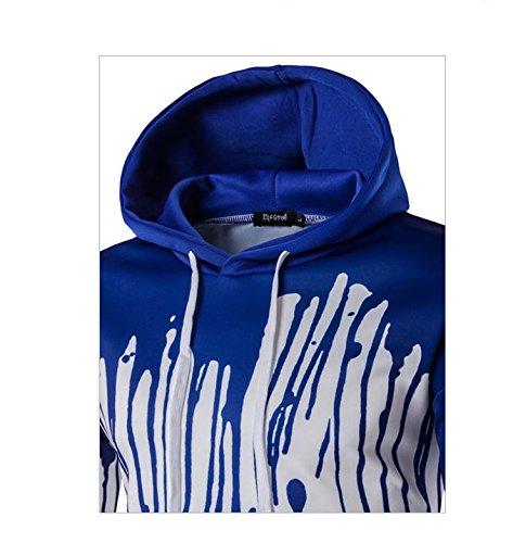 Herren Long Sleeve Hooded Splash-Tinte 3D Digital Print Baumwolle Pullover Sweatshirts Blau