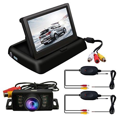 Audew 4.3'' Rückfahrkamera Rückansicht Drahtlose Display Monitor Rückfahrsystem Mit Funkempfänger
