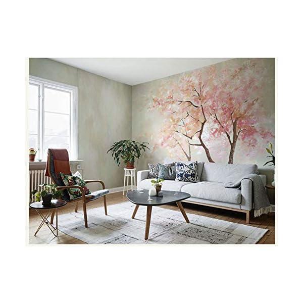 luludsoo Carta da Parati Originale con Foglie di murales Rosa per pareti  Soggiorno con Divano Sfondo 3D Foto murali con Foto 208Cm (W) X146Cm (H)