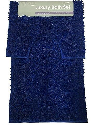 Bath Mat Set 2 Piece Non Slip Rubber Pedestal and Bath Mat Set Toilet Loop Bathroom Rug New ( Royal Blue