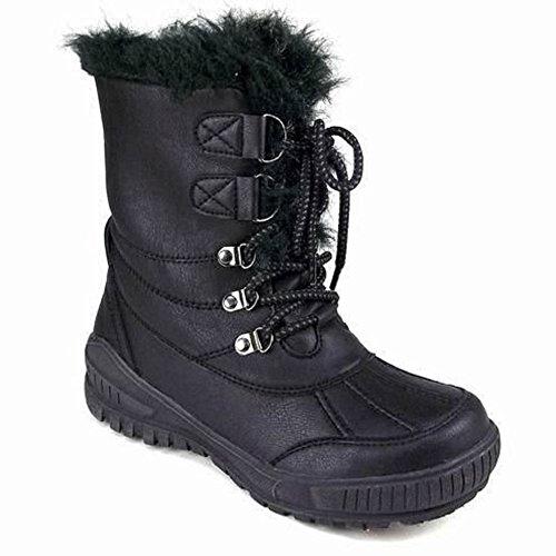 Mesdames pour plat chaud en dentelle Up Grip Semelle avec doublure en fourrure d'hiver neige Cheville Bottes Taille Noir - noir