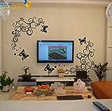 ZBYLL Wall Sticker Hot Schmetterling Weinstock Blume Wand Aufkleber Wohnzimmer Home Decor dekorative Herausnehmbare PVC Wandbild