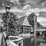 Posterlounge Acrylglasbild 120 x 120 cm: NÜRNBERG Blick von der Maxbrücke Zum Henkersteg von Melanie Viola - Wandbild, Acryl Glasbild, Druck auf Acryl Glas Bild