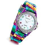 Lancardo Montre Femmeà Quartz Multicolore Cadran Numérique--Analogique--Bracelet...