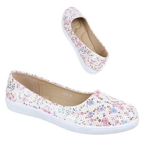 Damen Schuhe, K809, BALLERINAS SLIPPER Rosa Multi