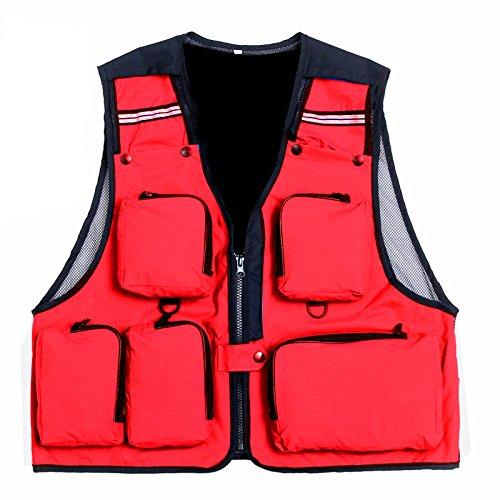 Gaorui Sommer Fliegenfischen Weste Anglerweste mit vielen praktischen Tasch life Vest Rot