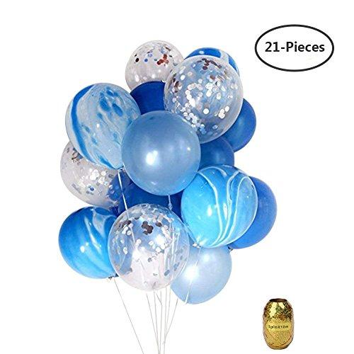 Yuccer Globos Confeti, Globos de Fiesta de Colores Látex Globos Transparentes para Aniversario Navidad Cumpleaños Boda Baby Shower Decoraciones 12 Pulgadas Globos Helio (A, 21 Piezas)