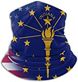 USA Indiana State Flag Neck Warmer Gaiter Balaclava Ski Mask Winter Hats Headwear for Men Women Black