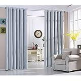 Cortinas Opacas Térmicas Aislantes con Ollaos para Hogar Dormitorio Salón y Oficina, 2 Piezas, 140x245cm, Blanco-Gris