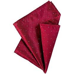 DonDon Pañuelos de bolsillo con lunares de plata hombre de 25 x 25 cm para ocasiones especiales - Rojo oscuro