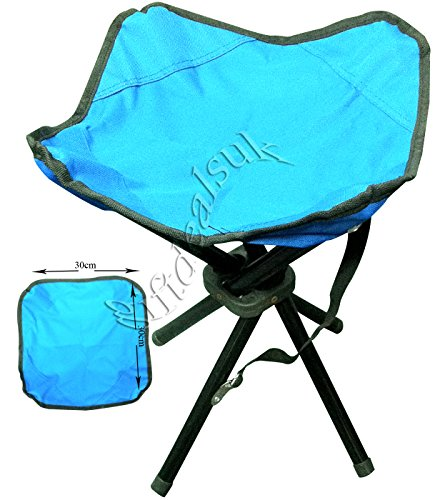 4 LEGS STRONG CHAIR SEAT FOLDING CAMPING STOOL PORTABLE HIKING FISHING BBQ COLOURS AVAILABLE (Blue)