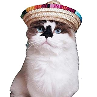Pet Straw Hat,AmaMary Multicolor Dog Cat Mexican Straw Sombrero Hat Pet Cotton Rope Buckle Adjustable Costume (Cotton rope Adjustable)