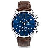 Vincero Herren Chrono S Chronograph Quarz Uhr Mit Lederband - Bleu/Marron