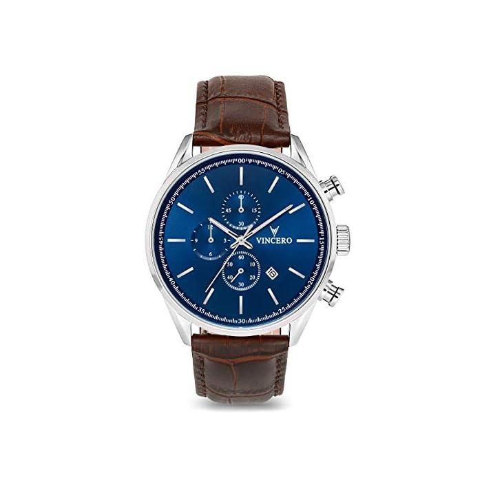 Vincero Chrono S Herren Armbanduhr - 43mm Chronograph Uhr - Japanisches Quarz Uhrwerk