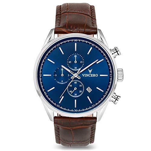 Vincero Herren Chrono S Chronograph Quarz Uhr Mit Lederband - Bleu/Marron -