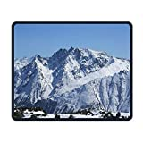 Ice and Snow Mouse Pad,Natural Winter Scenery Serene Calming Environment Fresh Land Picture, Standard Size Rectangle Non-Slip Rubber Mousepad Ice Flow