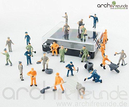 25 x Modelleisenbahn Arbeiter H0 Bauarbeiter Figuren Mülleimer und Leiter 1:87 (Bauarbeiter Figuren)