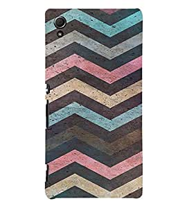 PrintVisa Colorful Chevron Pattern 3D Hard Polycarbonate Designer Back Case Cover for Sony Xperia Z4