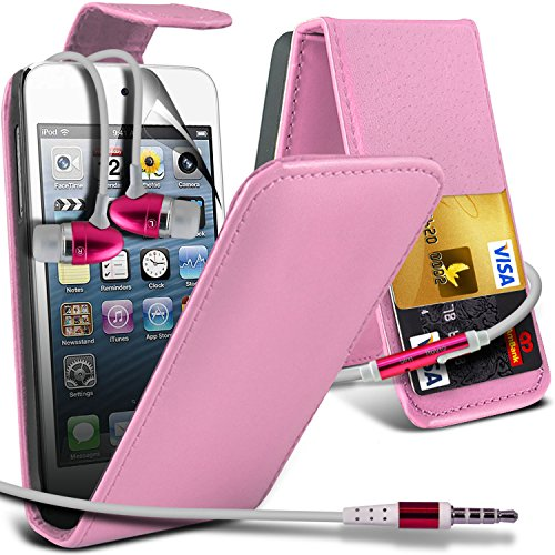( Baby Pink ) Apple Ipod Touch 4 High Quality Faux Kredit / Debit-Karten-Slot Leder Flip Case Hülle & LCD-Display Schutzfolie by i-Tronixs