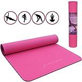 Malaika Yoga- und Fitnessmatte, Sportmatte | für Yoga, Pilates, Funktionales Training UVM. | inkl. Halte-Gurt, Rutschfest, Umweltfreundlich | 183 * 61cm | Pink
