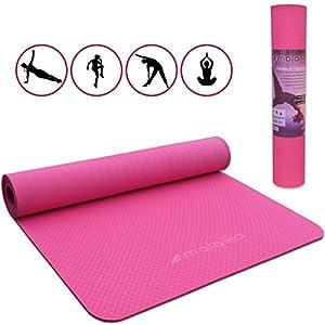 malaika | Fitnessmatte, Sportmatte Lite | für Yoga, Pilates, Funktionales Training UVM. | inkl. Halte-Gurt, rutschfest, umweltfreundlich | 183 * 61cm