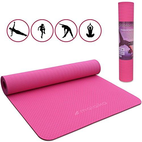 malaika | Yoga- und Fitnessmatte, Sportmatte | für Yoga, Pilates, Funktionales Training uvm. | inkl. Halte-Gurt, rutschfest, umweltfreundlich | in pink | 183*61cm (pink)