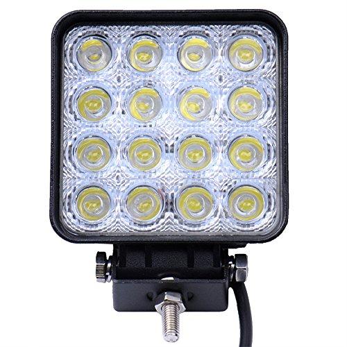 Viugreum 48W 4800LM Platz LED Arbeitsscheinwerfer, 12V 24V LED Offroad, Flutlicht Reflektor Scheinwerfer Arbeitslicht für SUV Truck Car und mehr, IP67 Scheinwerfer Rückfahrscheinwerfer -