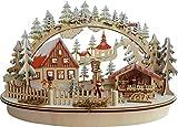 LED Schwibbogen Lichterbogen Leuchter Haus und Marktstand aus Holz Oval ca. 45 cm Breit Weihnachten Advent Geschenk Dekoration (94311)