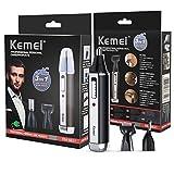 Kemei 3 in 1 Naso Ear Hair Trimmer Kit elettrico Sopracciglio Trimmer portatile barba basette Trimmer ricaricabile Uomini strumento di cura del viso KM-6631 nero + argento