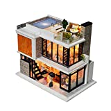 Hearthrousy DIY Puppenhaus Miniaturhaus Kit 3D Bausatz Holz Modell Set mit LED Licht und...