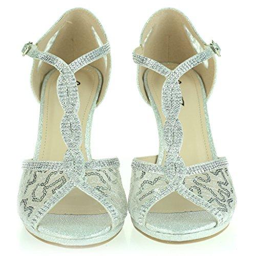 Frau Damen Detail Offener Zeh Durchschauen Diamant Mittlerer Absatz Abend Party Hochzeit Abschlussball Braut Sandalen Schuhe Größe Silber