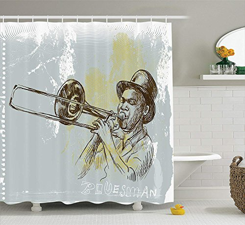 Jazz Music Decor Shower Curtain Set, Trumpet Player Illustration Rock and Roll Party Classic Artful Home Decoration, Bathroom Accessories, 60x72 Inches, Gray Yellow Black Black Trumpet Rock