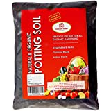 Organic Potting Soil Mix Ready to use organic fertilizer nutrients balanced water absorption prevents root-rot light weight terrace gardening and indoor plants, contains neem powder, beneficial microbes for flowers vegetables and ornamental plants (10)