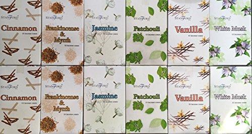 180, Stamford-Coni di incenso alla cannella, 6 varieties. 2 x, 2 x, Incenso Mirra, 2 x, Jasmine & Patchouli 2 x 2 x 2 x Vanilla coni, aroma: muschio bianco