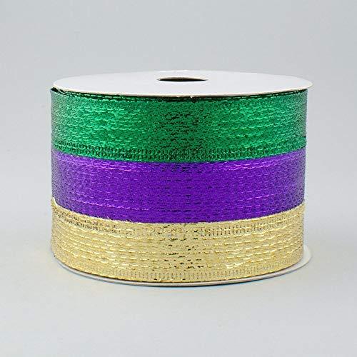 6,3cm breit Expressions Streifen Metallic Lamé Band mit Draht lila, grün & gold (10Meter) Mardi Gras -