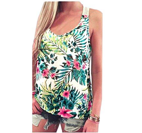 FEITONG Manga del cordón del chaleco verano de las mujeres Top blusa corta tapas del tanque ocasionales de la camiseta (L) (L)