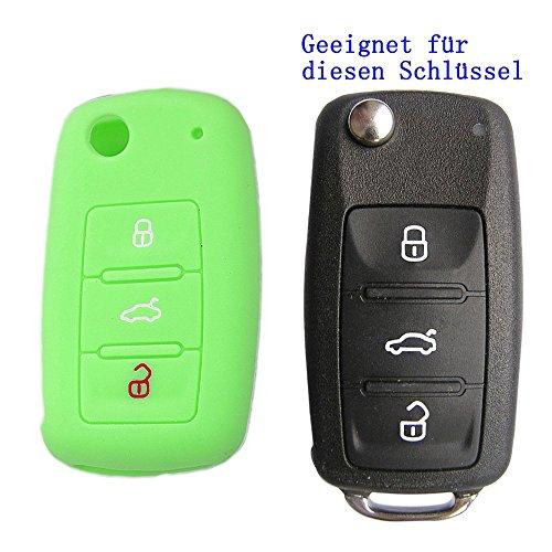 RotSale® 1x Leuchtend Hellgrün Autoschlüssel für VW SEAT SKODA Silikon Schutzhülle Tasche Gehäuse mit Leuchtmaterial 3 Tasten Fernbedingung Klappschlüssel