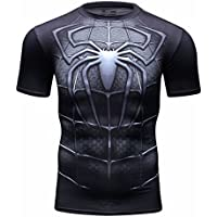 Cody Lundin cime degli uomini ragno nero stampato digitale eroe logo t-shirt sport uomo stile manica corta (M)