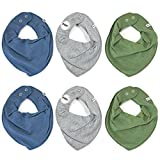 Pippi 6er Pack Baby Jungen Halstuch, Farbe: Grau, Blau und Grün, One Size