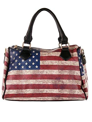 Damen Bowlingtasche, Bowling Bag - Stars and Stripes - USA Flagge, 33x22x18 cm (BxHxT), T5520 (Black)